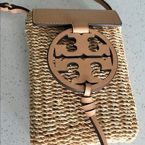 Tory Burch Miller Cross Body Straw Vachetta Bag